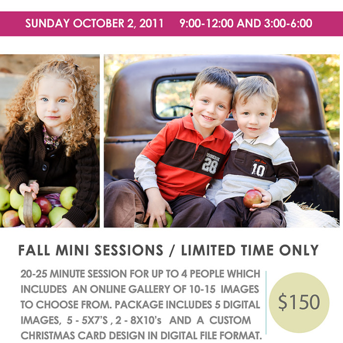 Fall Mini Sessions ----- the waiting is over, it's finally here!